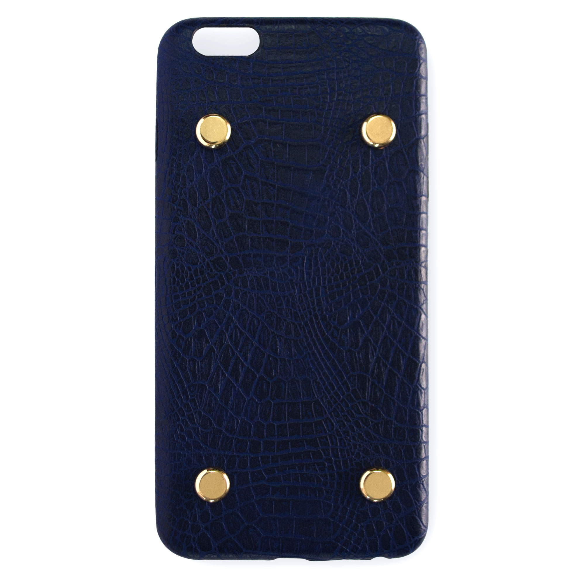 Basic Case with Gold Studs - Leather Midnight Blue